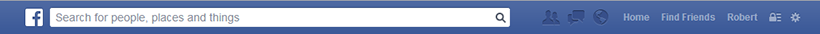 Facebook Top Menu Bar